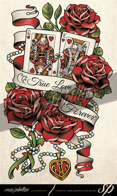cards king and queen of hearts tattoo by sam phillips nz