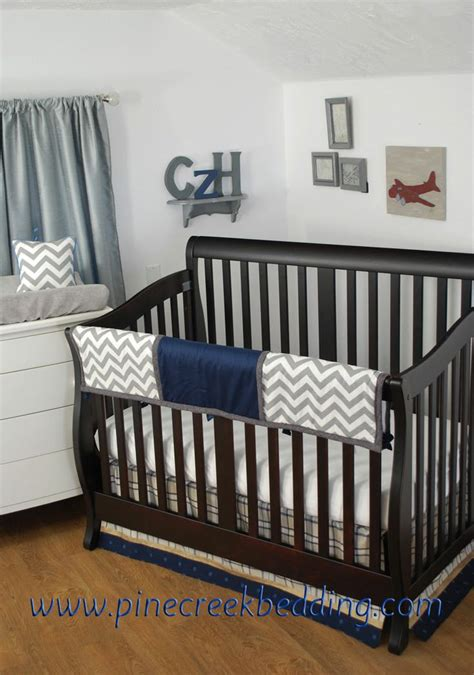 Grey And Navy Crib Bedding by Grey Chevron With Navy On The Crib Rail Guard Grey Crib