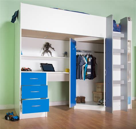 High Sleeper Cabin Beds by Childrens High Sleeper Bed White Blue