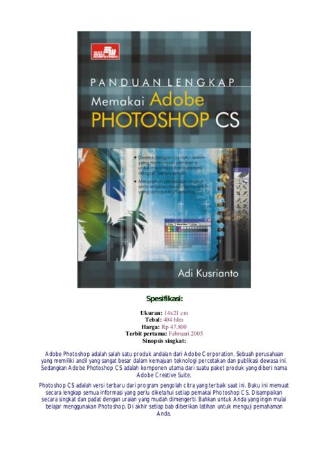 Seri Panduan Lengkap Adobe Photoshop Cs panduan lengkap memakai adobe photoshop cs