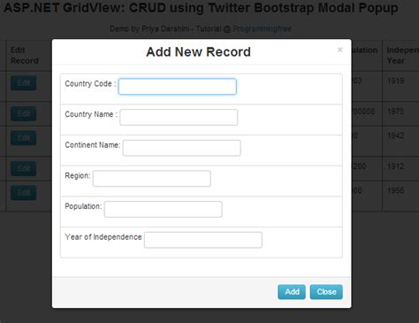 bootstrap gridview tutorial asp net gridview crud using twitter bootstrap modal popup