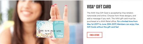 Visa Gift Card Monthly Fee - fee free visa gift cards for aaa members through june select areas doctor of credit