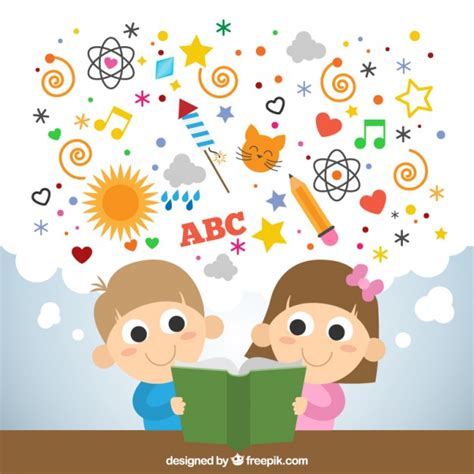 libro childrens writers artists ni 241 os leyendo un libro imaginativo descargar vectores gratis