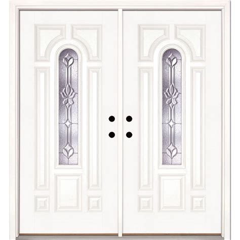 White Exterior Doors Feather River Doors 74 In X 81 625 In Medina Zinc Center Arch Lite Unfinished Smooth Right