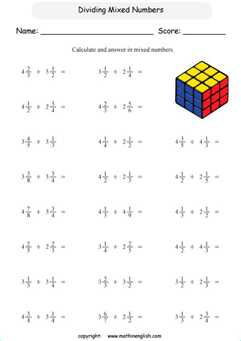 mixed fractions worksheets divide mixed numbers by mixed numbers math worksheet for sixth graders remedial fraction