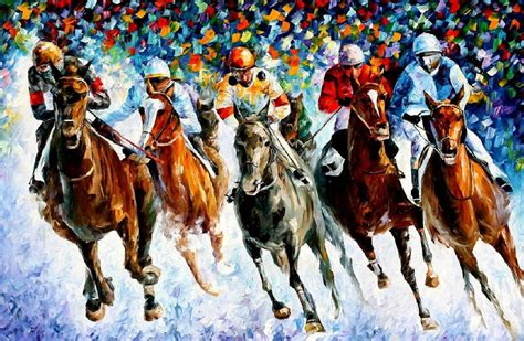 painting racing race on the snow palette knife painting on canvas by