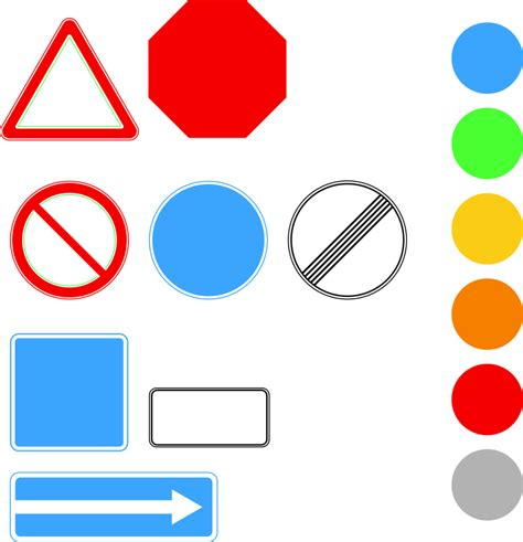 road sign colors clipart template of road signs shapes and colors