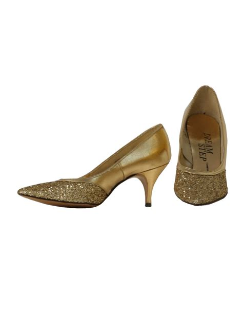vintage 1960 s shoes 60s step womens gold vinyl
