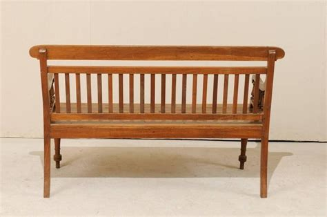 bench with backrest india colonial style teak wood bench with slats on the