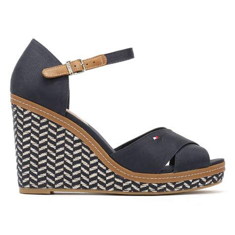 tommy hilfiger womens wedge sandals midnight  textile