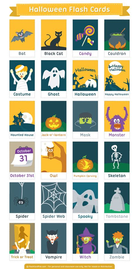 halloween flashcards printable printable halloween flash cards