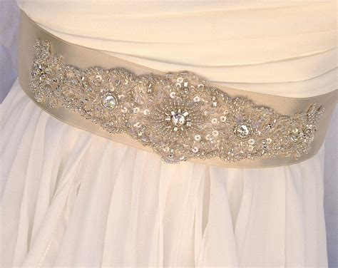beaded sash beaded bridal sashwedding sash in pale chagne by