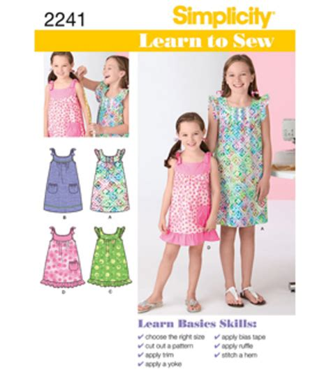 patterns sewing joannes simplicity pattern 2241k5 learn to sew child girl dresses