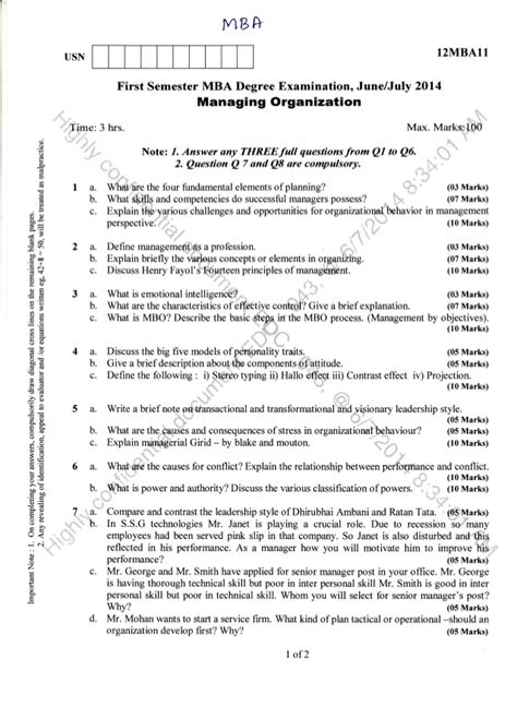 Mba Question Papers 1st Semester 2016 by 1st Semester Mba June 2014 Question Papers