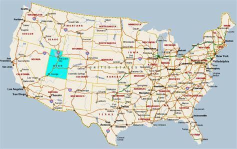 usa states map utah fitzy s web site travel united states of america