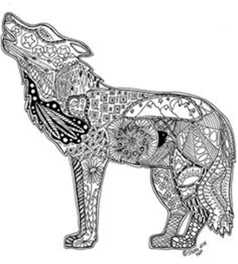 Wolf Zentangle Outline by Kudarata Limited Edition A3 Print Wolf Zentangle Fayehalliday Fayehallidayart