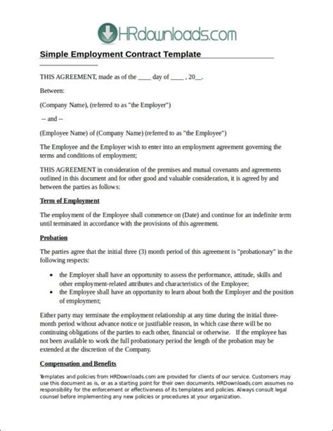 simple employment contract template 19 employee contract sles templates free word pdf