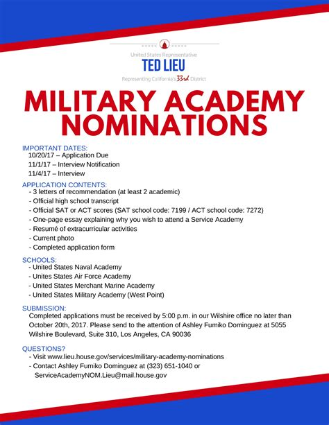 Service Academy Letter Of Recommendation Exle Service Academy Nominations Congressman Ted Lieu