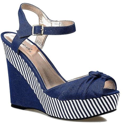 Wedges Stripe Navy Limited navy blue white striped peep toe clemence canvas wedges 100 brl liked on polyvore featuring