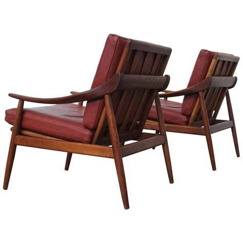 Jason Furniture by Pair Of Kurt Ostervig Leather And Teak Lounge Chairs For