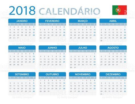Portugal Kalender 2018 Calend 225 2018 Vers 227 O Em Portugu 234 S Vetor E Ilustra 231 227 O