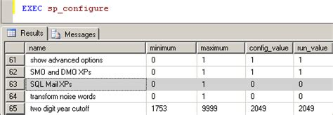 configure xp mail server configure sql mail xps sys xp readmail by using sp configure