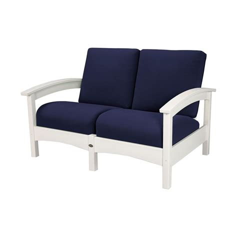 Patio Lounge Chairs Home Decorators Collection Naples Light Grey Patio Lounge Chair With Navy Cushions 2 Pack