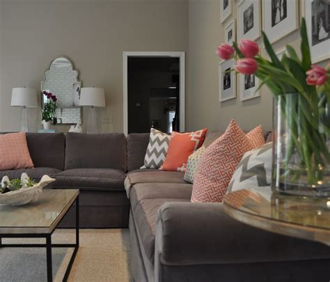 living room colors bring a feeling of nature into it gorgeous coral gray and white family room gray sectional