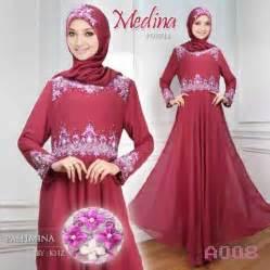 Baju Muslim Sifon Marron Mission72 gamis pesta medina sifon a008 pink baju muslim modern murah