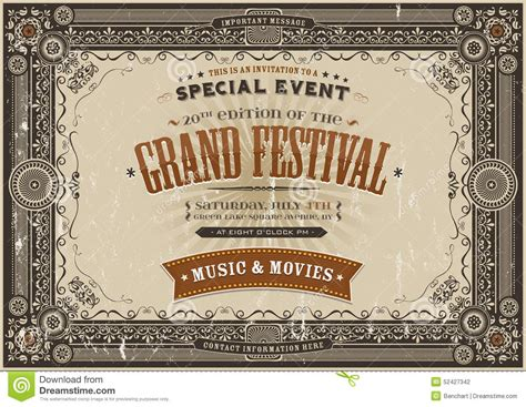 poster design horizontal vintage retro festival poster background stock vector