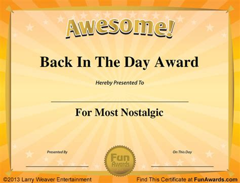 free silly card template award certificates 101 certificates to give