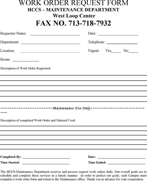 download work order request form for free formxls