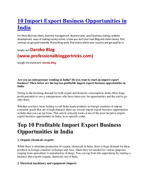 import export business opportunities in india small