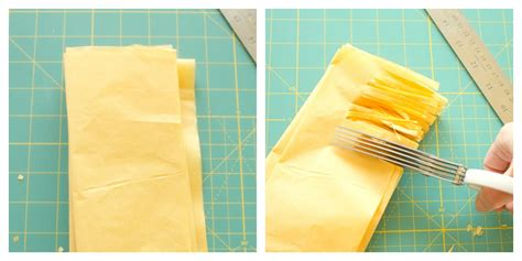 How To Make Tissue Paper Tassels - tissue paper fringe step2 craft thyme