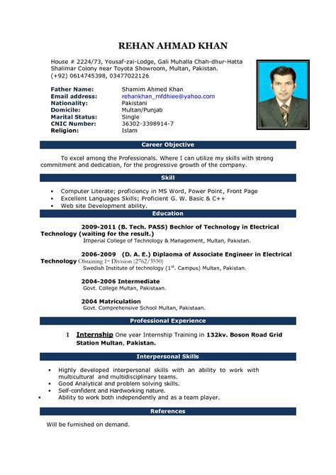 Resume Format For Experienced Free Download   IT Resume