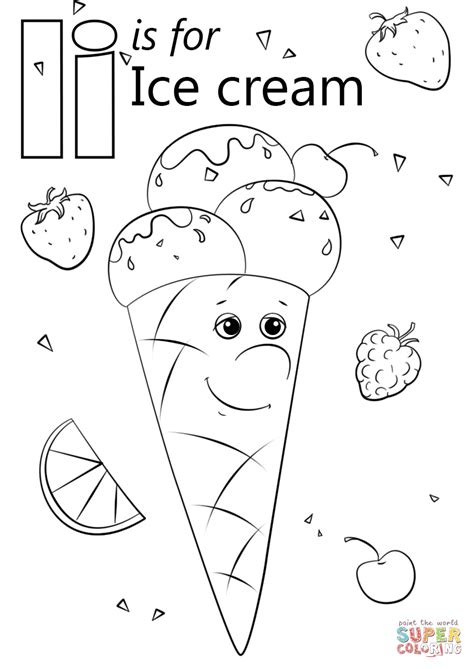 letter i is for iguana coloring page free printable letter i is for ice cream coloring page free printable