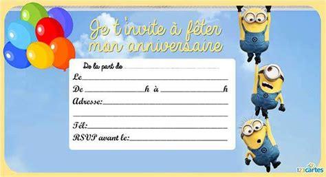Invitation Anniversaire Les Minions 123 Cartes