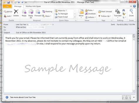 how to create vacation out of office message auto reply
