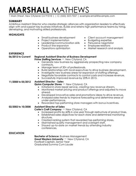 Operations Assistant Sle Resume by Assistant Director Resume Exles Created By Pros Myperfectresume