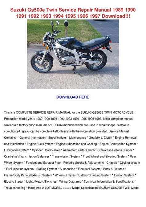 Suzuki Gs500e Twin Service Repair Manual 1989 By