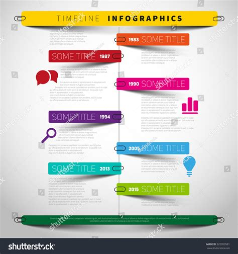 How To Make A Timeline On Paper - vector timeline infographic report template paper stock