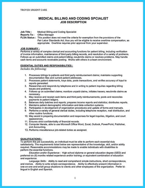 Billing Specialist Cover Letter by Exciting Billing Specialist Resume That Brings The To You