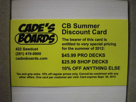 Cb Summer Discount Cards Available Now Supplies Limited