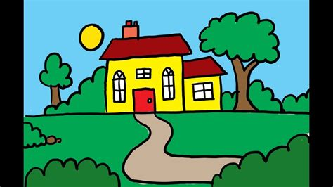 how to color a house how to draw and color a house with a garden art for kids