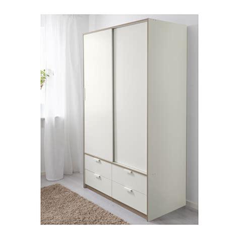 Drawer Doors by Trysil Wardrobe W Sliding Doors 4 Drawers White 118x61x202