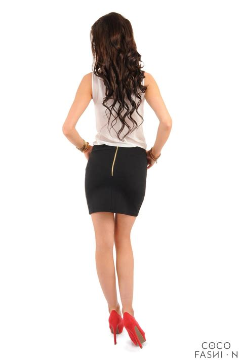 black pencil mini skirt with back zip fastening