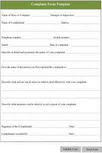 Complaint Form Template by Complaint Form Template Playbestonlinegames