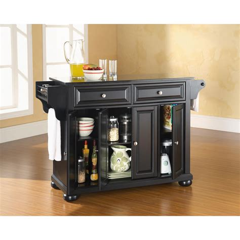black granite top kitchen island alexandria solid black granite top kitchen island in black finish crosley furniture