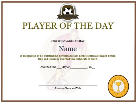 player of the day certificate template 10 professional player of the day certificate templates