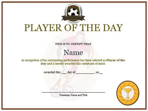 Football certificate template 10 professional player of the day 10 professional player of the day certificate templates pronofoot35fo Choice Image